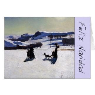 クロム手紙との雪の景色Feliz Navidad カード