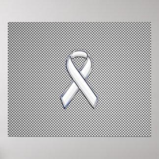 クロム白いリボンの認識度カーボン繊維のプリント ポスター