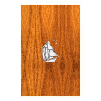 クロム銀はチークのベニヤのヨットを好みます 便箋