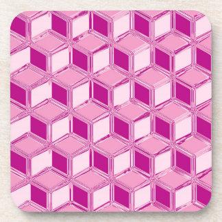 クロム3D箱-明るい赤紫色のピンク コースター