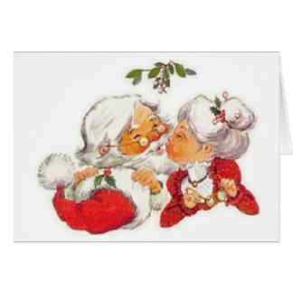 クロースヴィンテージのクリスマスのサンタのキスをするな夫人 カード