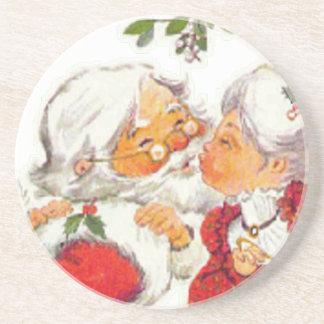 クロースヴィンテージのクリスマスのサンタのキスをするな夫人 コースター