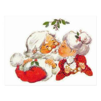 クロースヴィンテージのクリスマスのサンタのキスをするな夫人 ポストカード