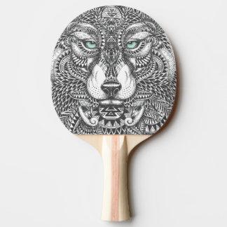 クローズアップのオオカミの顔の華美な絵 卓球ラケット