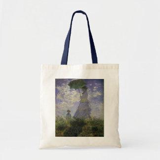 クロード・モネのヴィンテージの芸術著パラソルを持つ女性 トートバッグ