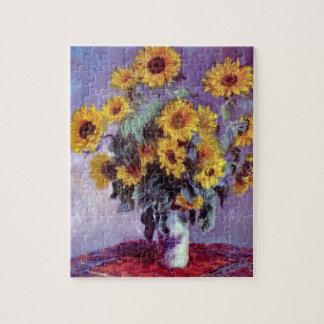 クロード・モネのヴィンテージの芸術著ヒマワリの花束 ジグソーパズル