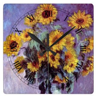 クロード・モネのヴィンテージの芸術著ヒマワリの花束 スクエア壁時計