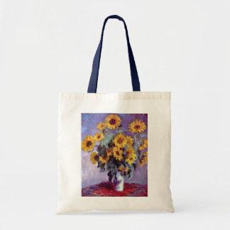 クロード・モネのヴィンテージの芸術著ヒマワリの花束 トートバッグ