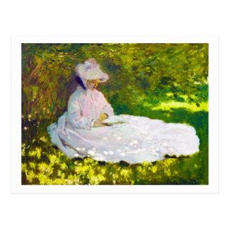クロード・モネを読んでいる女性 ポストカード
