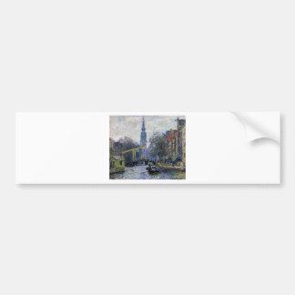 クロード・モネ著アムステルダムの運河 バンパーステッカー