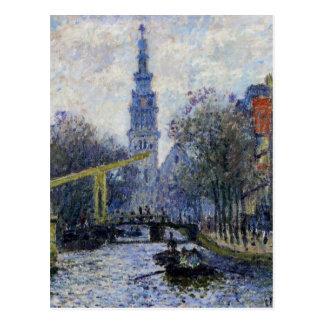 クロード・モネ著アムステルダムの運河 ポストカード