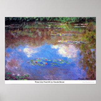 クロード・モネ著スイレンの池#4 ポスター
