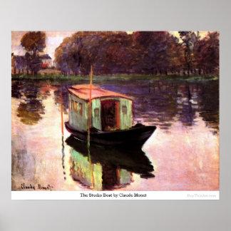 クロード・モネ著スタジオのボート ポスター