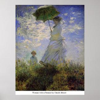 クロード・モネ著パラソルを持つ女性 ポスター