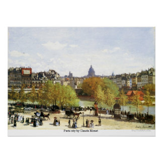 クロード・モネ著パリ都市 ポスター