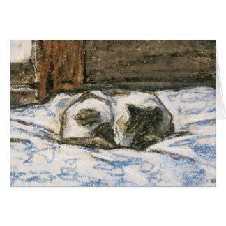 クロード・モネ著ベッドで眠っている猫 カード