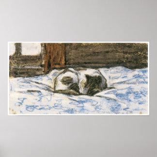 クロード・モネ著ベッドで眠っている猫 ポスター