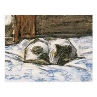 クロード・モネ著ベッドで眠っている猫 ポストカード