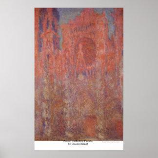 クロード・モネ著ルーアンのカテドラルの正面 ポスター