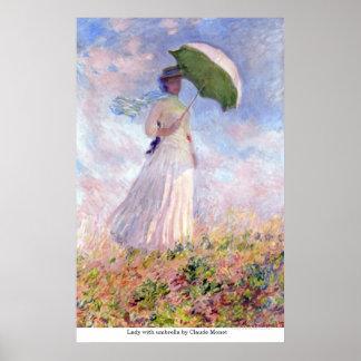 クロード・モネ著傘を持つ女性 ポスター