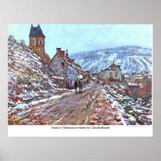 クロード・モネ著冬のVetheuilへの道 ポスター