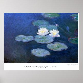 クロード・モネ著池の多彩なスイレン ポスター