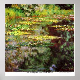 クロード・モネ著海のばら色の池 ポスター