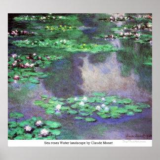 クロード・モネ著海のバラ水景色 ポスター