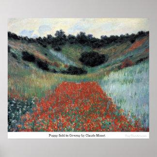 クロード・モネ著Givernyのケシ分野 ポスター