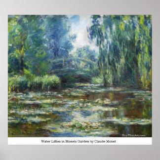 クロード・モネ著Monetsの庭の水ユリ ポスター