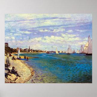 クロード・モネ著Sainte Adresseのビーチ ポスター