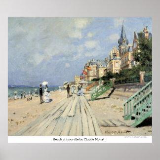 クロード・モネ著trouvilleのビーチ ポスター