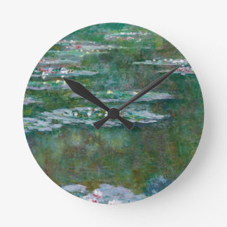 クロード・モネ//の《植物》スイレン ラウンド壁時計