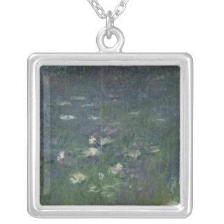 クロード・モネ|の《植物》スイレン: 朝1914-18年 シルバープレートネックレス