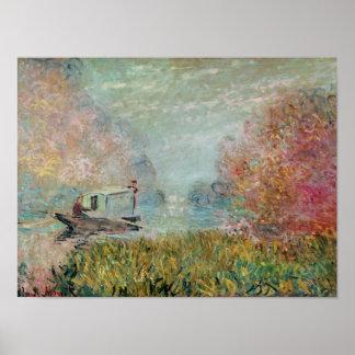 クロード・モネ セーヌ河1875年のボートのスタジオ ポスター