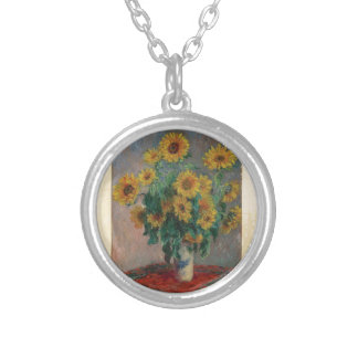 クロード・モネ: ヒマワリのヴィンテージの芸術の花束 シルバープレートネックレス