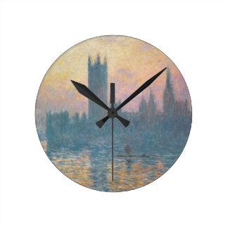 クロード・モネ|議会、日没の家 ラウンド壁時計