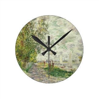 クロード・モネ| Gennevilliersの川岸 ラウンド壁時計
