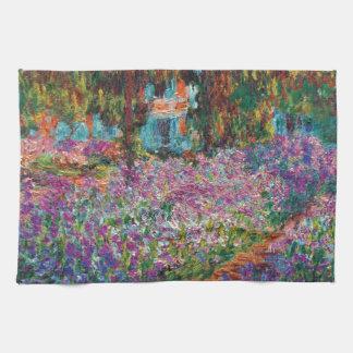 クロード・モネ- Monetの庭のファインアートのアイリス キッチンタオル