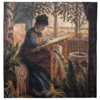 クロード・モネ: Monet Embroidering夫人 ナプキンクロス
