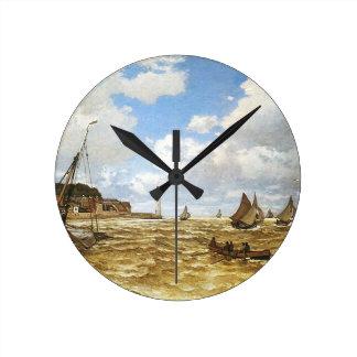 クロード・モネ- Seine川のアートワークの口 ラウンド壁時計