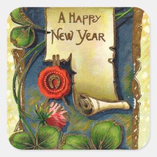 クローバーと挨拶する新年 スクエアシール