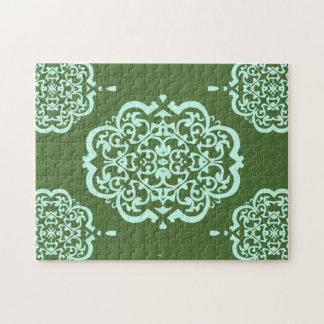 クローバーのダマスク織(緑) ジグソーパズル