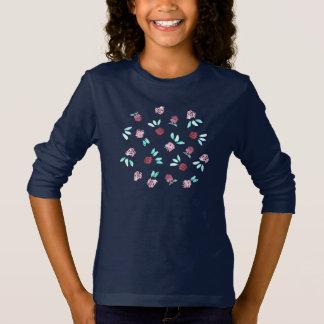 クローバーのフラワー・ガールの長袖のTシャツ Tシャツ