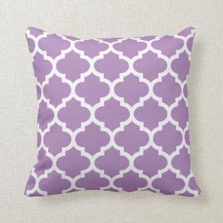 クローバーの枕-アフリカバイオレットの紫色パターン クッション