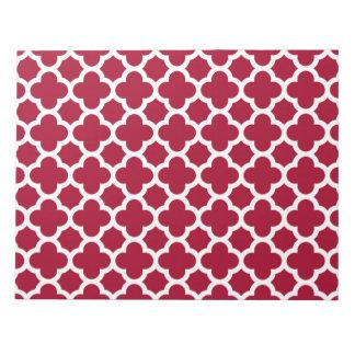 クローバーの深紅色および白いパターン ノートパッド