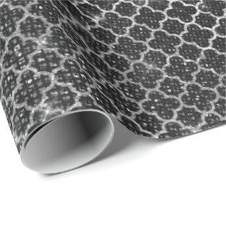 クローバーの銀製のスパンコールのグリッターのきらめく黒 ラッピングペーパー