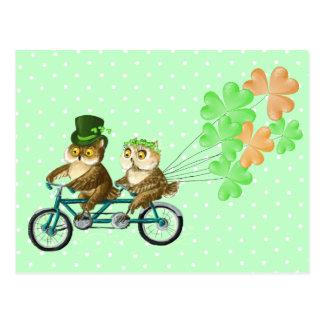 クローバーのbaloonsを持つアイルランドのbicyсleのフクロウ ポストカード