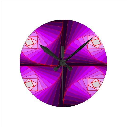 クワッド・スパイラル・パープル ラウンド壁時計