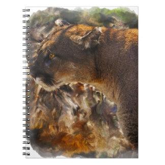 クーガーのオオヤマネコの大きな猫の芸術のデザイン4 ノートブック